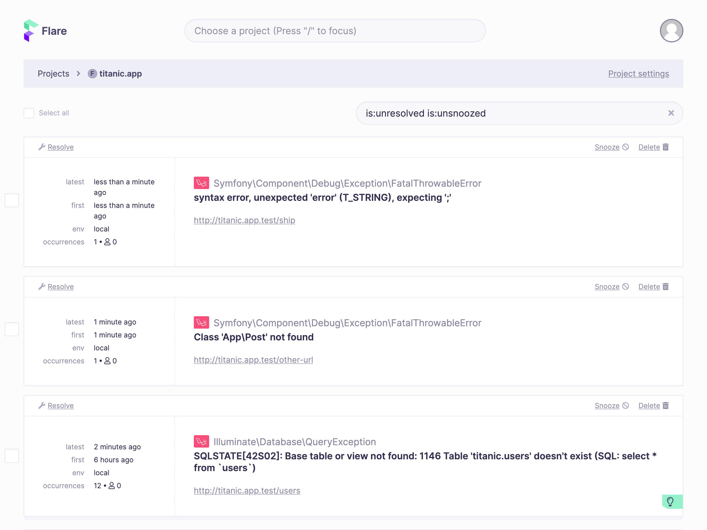 Screenshot of project screen showing list of errors