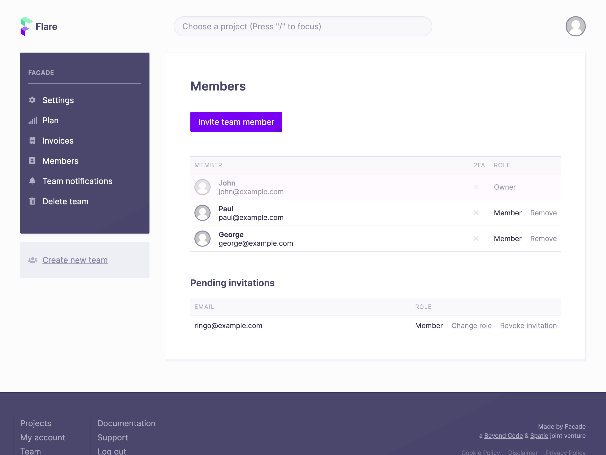 Screenshot of members screen