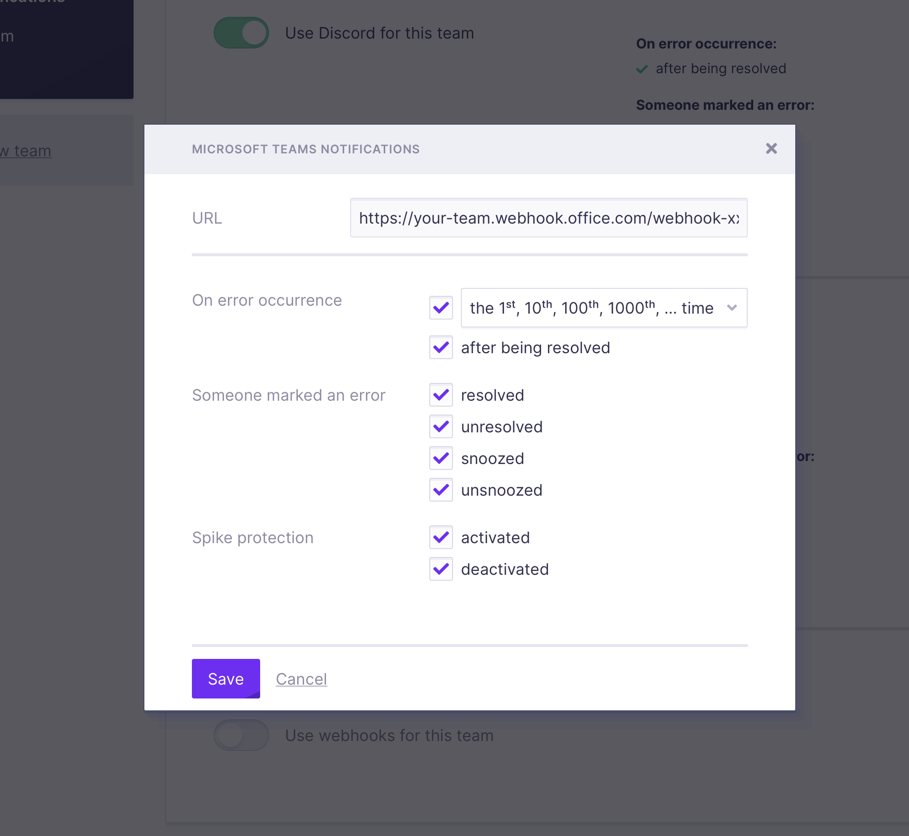 Screenshot of Microsoft Teams settings