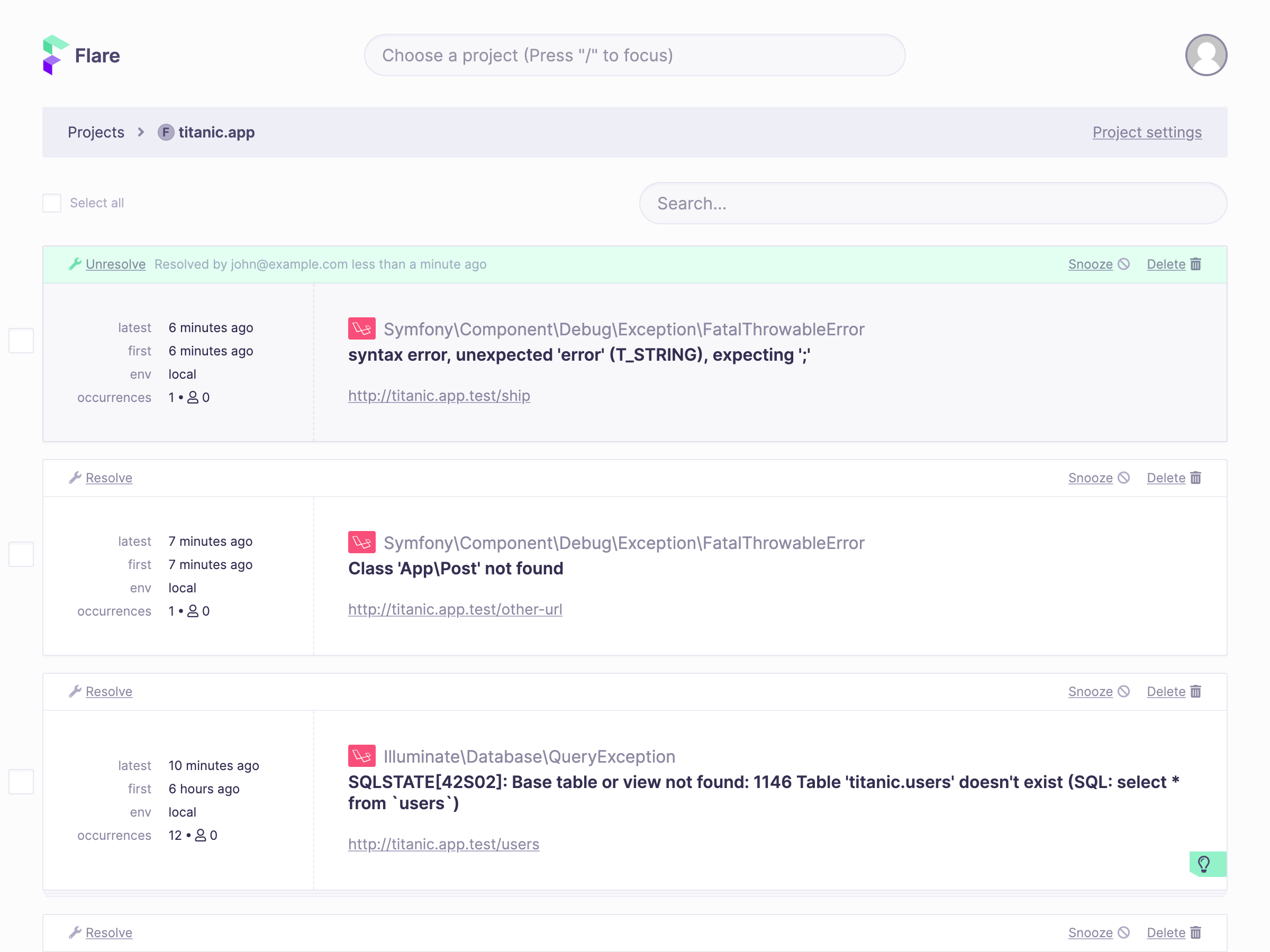 Screenshot of resolved error