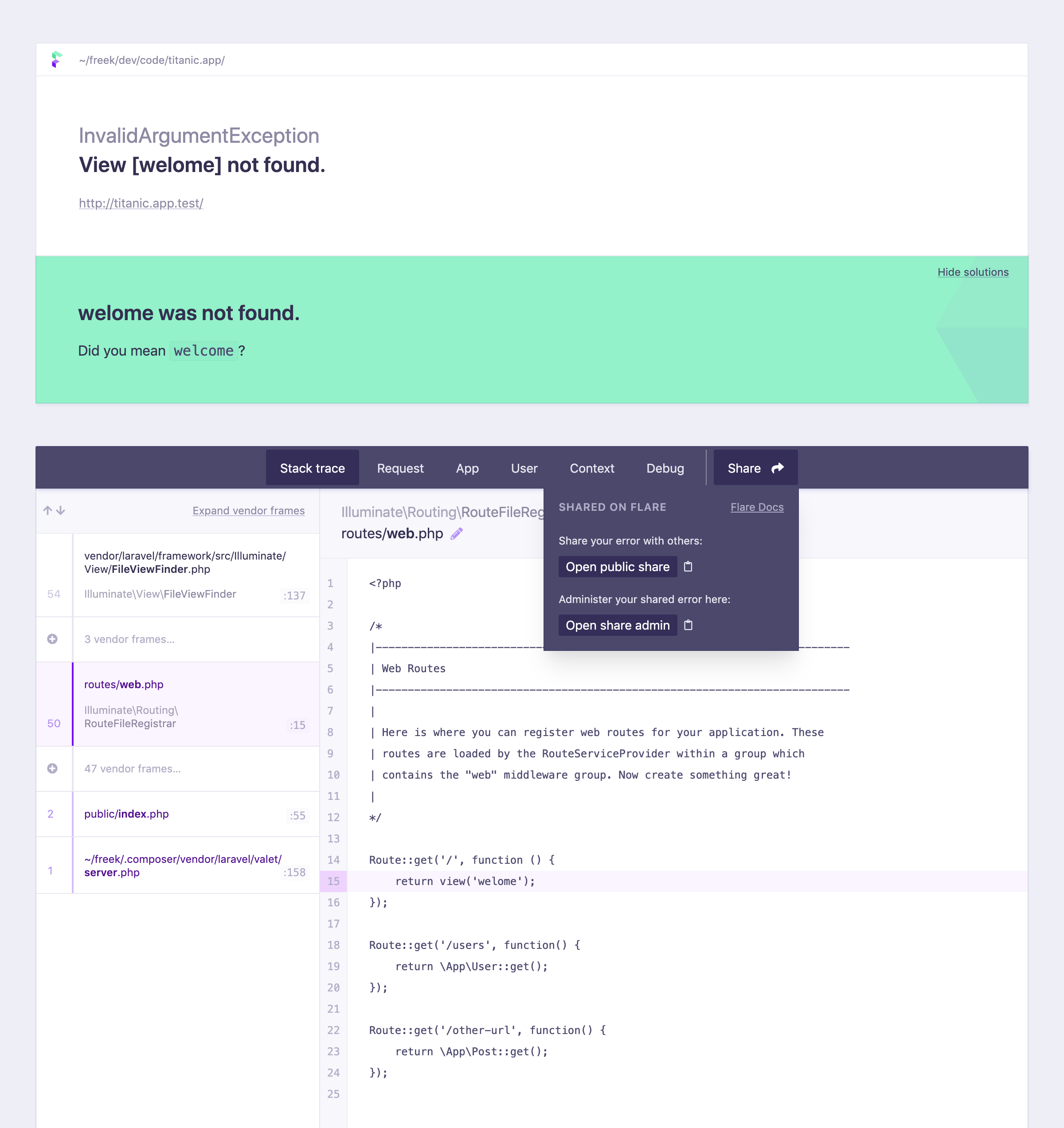 Screenshot of sharing links