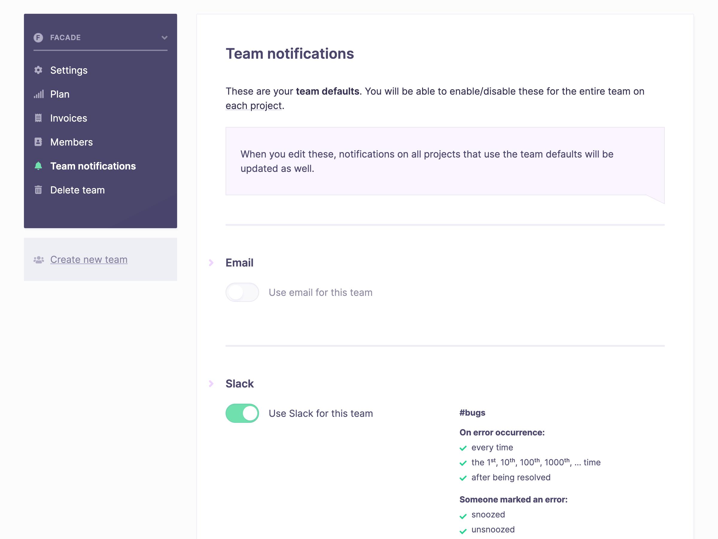Screenshot of team notifications screen